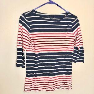 Tommy hilfiger | stripedquarter sleeve shirt small